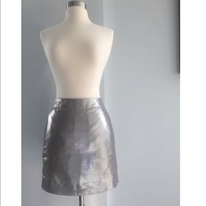 J. CREW Silver Metallic Pencil Skirt Size 4